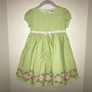 Gymboree dress,  spring green with pink flowers